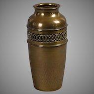 Brass reticulated Arts & Crafts vase
