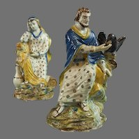 "Rare Pair Of English Prattware Figures of Zeus and Hera, circa 1810, 9""x7"""