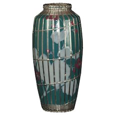 Japanese Meiji period vase with silver basket weave overlay
