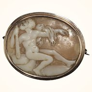 Antique Shell Cameo Brooch in Gold Bezel Depicting Hercules
