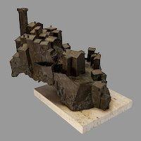"Bronze Sculpture of Tuscan village by Harry Marinsky, 12""x15"""