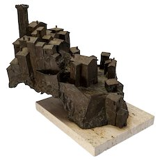 "Bronze Sculpture of Tuscan village by Harry Marinsky, 12""x15"""