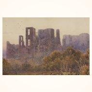 19th c. Watercolor of Kenilworth Castle by Lewis Pinhorn Wood, RA