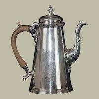 "Fine English George II Sterling Silver Coffee Pot, 9.5"""