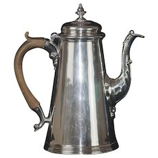 Fine English George II Sterling Silver Coffee Pot, 9.5""