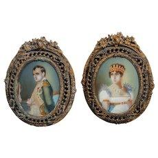"Portrait miniatures of Emperor Napoleon & Josephine c, 1799 - 5 1/2 x 4"""