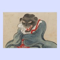 Rare Japanese gouache of an evil Inugami dog spirit, Edo period