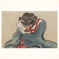 Japanese gouache of kitsune priest, Edo period