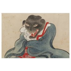 Rare Japanese gouache of an evil Inugami dog spirit, Edo period