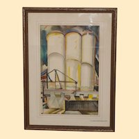 "Watercolor by Harry Kidd: ""Coal Elevators"", Art Deco"