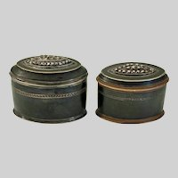Pair French early 19th C.  copper & silver snuff boxes