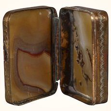 An Antique c. 1840 Welsh or English Agate and Gilt Copper Pill Box