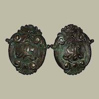 A Pair of Venetian 17th Century Baroque Bronze Door Knobs With Grotesques