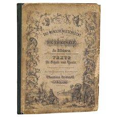 """book: """"Das Menschengeschlect und Die Thierwelt"""" 1853 with many lithographs - 1853"""