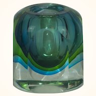 Murano Sommerso Blue & Green Art Glass Low Vase