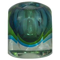 Murano Sommerso Blue & Green Art Glass Low Vase