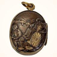 Rare Japanese shakudo (inlaid, mixed metal) locket, late 19th c.