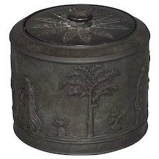 Wedgwood black basalt jar or humidor, early 19th century