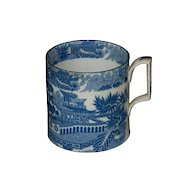 Early English Blue & White Transfer Print Chocolate Cup, 1785-1810