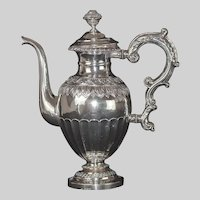 Rare Antique 1838 Swedish Rococo Silver Coffee Pot