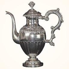 Rare Antique 1838 Swedish Rococo Silver Coffee Pot
