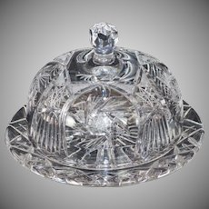American Brilliant Period Cut Crystal Cake Plate with Dome