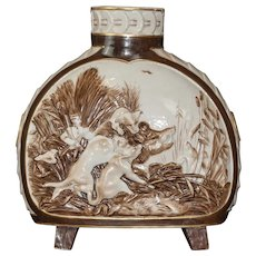 French/German molded figural moon flask c. 1870