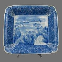 An Antique  Japanese Blue And White Edo Period Arita Square Bowl