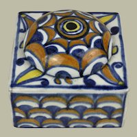 Antique Italian Orvieto or Deruta Glazed Covered Inkwell