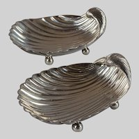 Mexican Sterling Silver Shell-shaped Footed Dishes