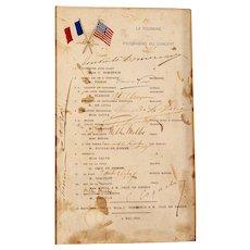 S.S. La Touraine voyage concert program with Nellie Melba autograph, 1894