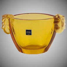 Gold-colored Sevres Crystal Bowl in Original Box