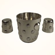 Taxco Mexican sterling ice bucket with two tumblers