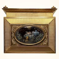 19th c. French Gilt Bronze Jewelry Casket with Handpainted Nymph Plaque
