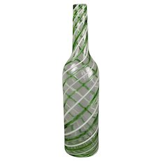 Murano Glass Green and White Striped/Latticino Water Decanter Bottle
