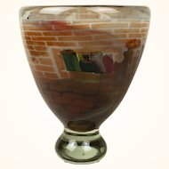 An American Mid-century Art Glass internally decorated Sommerso Glass Vase