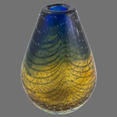 """Barovier Controlled Bubble Blue & Gold Vase,  8.5""""x5"""""""