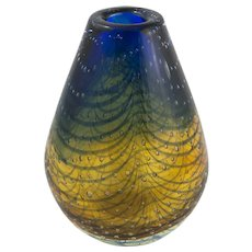 "Barovier Controlled Bubble Blue & Gold Vase,  8.5""x5"""