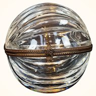 Antique Baccarat Glass Ring Box Shaped as a Walnut
