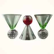 Three Colorful Controlled Bubble Art Deco Style Murano Cocktail Glasses