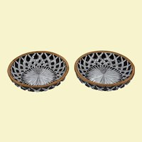 Pair of Antique Baccarat Ruby Cut-to-Clear Gilt Bronze Mounted Dishes