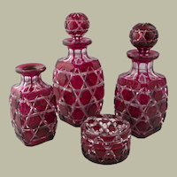 4 piece Victorian Stevens & Williams Ruby Glass Dresser Set