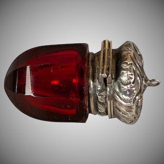 Antique 1880 English Victorian Acorn-shaped Ruby Glass Vinaigrette