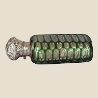 Victorian Green Cut-to-clear Scent Bottle