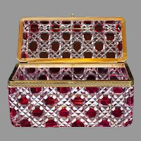 "Monumental red cut-to-clear glass casket or glove box, 10""x7""x5"""