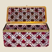 """Monumental red cut-to-clear glass casket or glove box, 10""""x7""""x5"""""""
