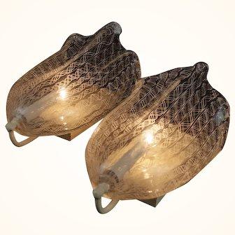 Pair Murano Venini Latticino Glass Sconces, Mid-century 1950s