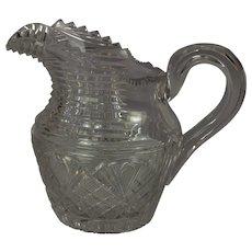 """Irish Regency cut glass milk pitcher c. 1825 - 5"""" H x 5"""" W x 3 1/2"""" D"""