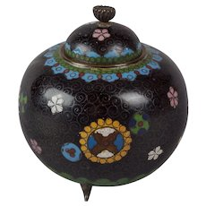 A Small Japanese Cloissone Koro or Incense Burner