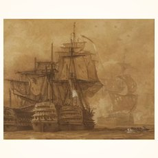 Maritime Sepia Watercolor c. 1850 by William Knell Depicting English Defeat of Spanish Armada